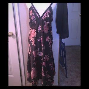 Black floral abstract hem slip dress